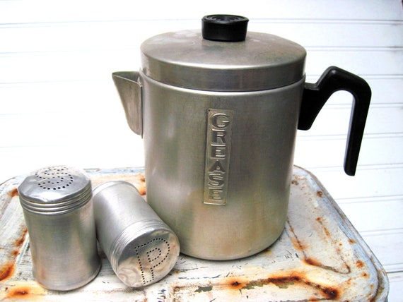 Tin grease pot with cracklin strainer and salt pepper