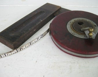 2 rustic vintage tools : add-an-inch measuring tape and t square - for an honest days work