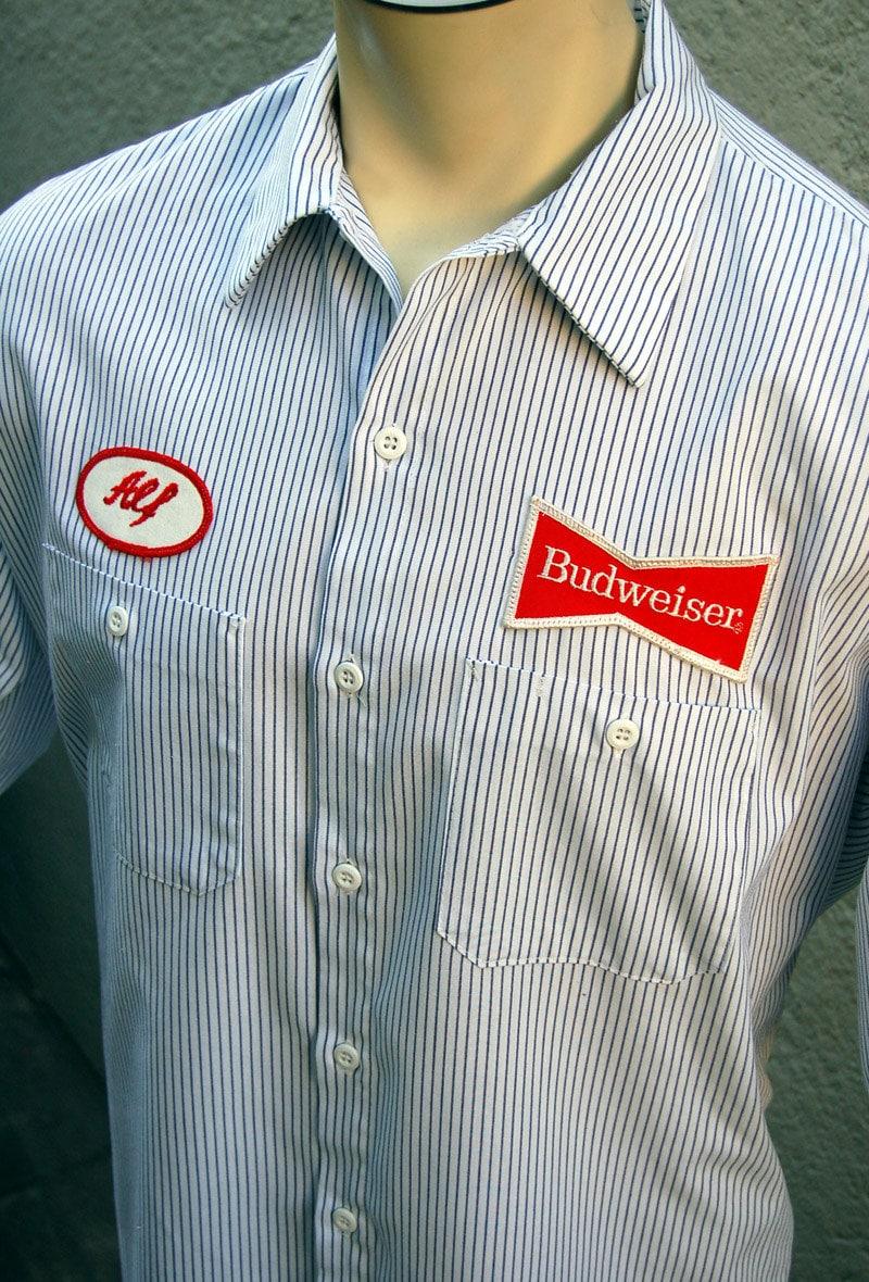 Vintage Budweiser Beer Uniform Workshirt Delivery Driver