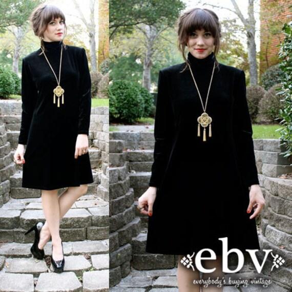 Vintage 90's Jet Black Velvet Party Mini Dress  S M