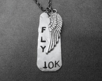 FLY 10K with WING Running Necklace - Aluminum Dog Tag Style Runner Necklace on 24 inch Gunmetal Chain - Stainless Steel Chain available