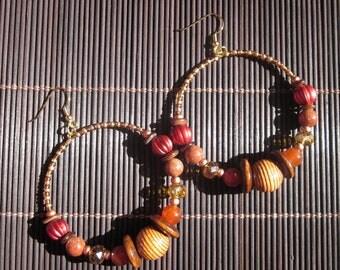 Autumn's Approaching II Beaded Hoop Earrings