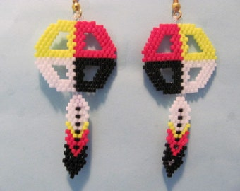 Hand Beaded Medicine Wheel  with feather dangling earrings