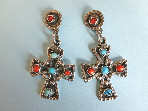 TURQUOISE & CORAL Sterling Silver Designer Vintage Cross Earrings