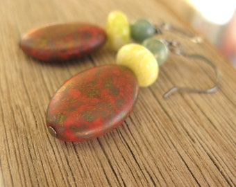 Pink, green and yellow earrings, hostess gift