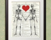 SKELETON LOVERS Dictionary Art Print Poster Enlargement 10x13 or 11x14 or 12x15 Valentine's Day Gift VIntage Home Decor Wall Decor
