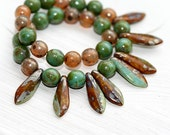 Jewelry making beads mix, Czech glass Brown and green Picasso - 35Pc - 0493