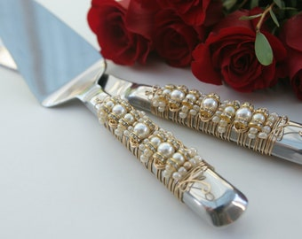 Ivory Pearl & Gold Beaded Wedding Cake Server Set, special occasion, couture tabletop, knife set, custom, personalized, bridal gift