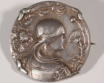 Antique Brooch Sterling Brooch Womans Portrait and Flowers Brooch Charming Small Brooch  Signed P. BRICK France Stamped Art Nouveau Brooch