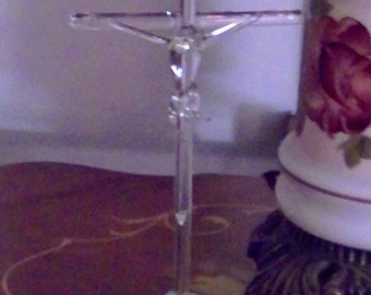 Vintage Cut and Blown Glass Figurine of Crucifix, Easter Gift
