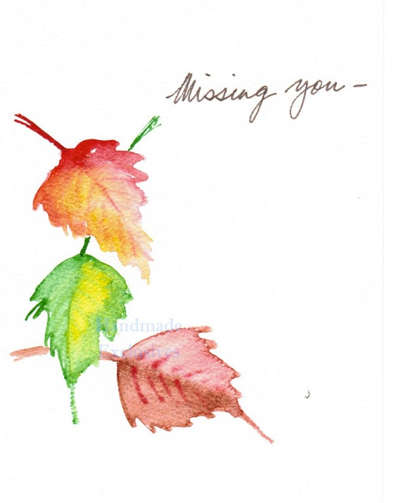 Handpainted greeting card missing you watercolor art fall etsy m4hsunfo