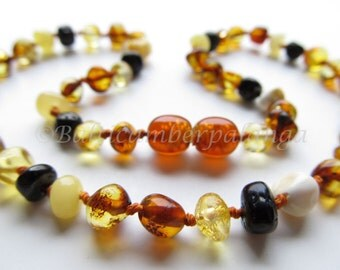 Baltic Amber Teething Necklace, Rounded Multicolor Beads