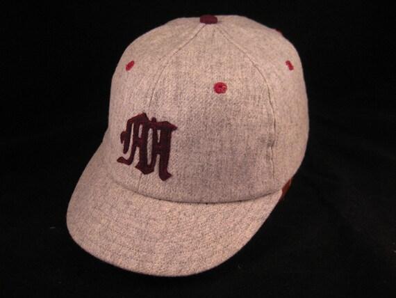 Baseball cap in soft wool flannel fabric, handcut felt old english M,  with 19th century era visor style.
