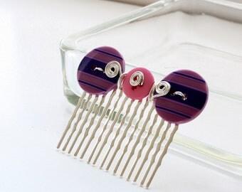 CLEARANCE Silver Hair Comb, Purple Button Hair Comb, Pink Button Hair Comb, Button Hair Comb, Wire Wrapped Hair Comb, Decorative Hair Comb