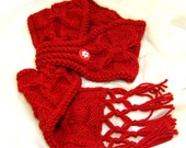 Self Designed Hand-Knitted Scarf, Hot Red Color, Vivid and Chic, Winter Fashion Adornment, Warm and Cozy (KP001S)