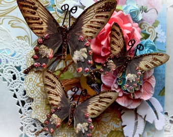 Reneabouquets Butterfly Set - Emmie's Dream Butterflies Scrapbook Embellishment Tag, Card, Mini Album, Wedding