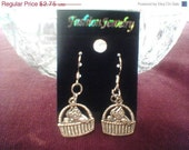 Tibetan silver cat in a basket earrings