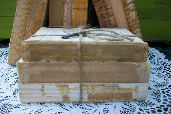 Vintage Book Bundle, Shabby Chic Decor, Book Display, Decorative Old Books, Rustic, Wedding, French Country Decor