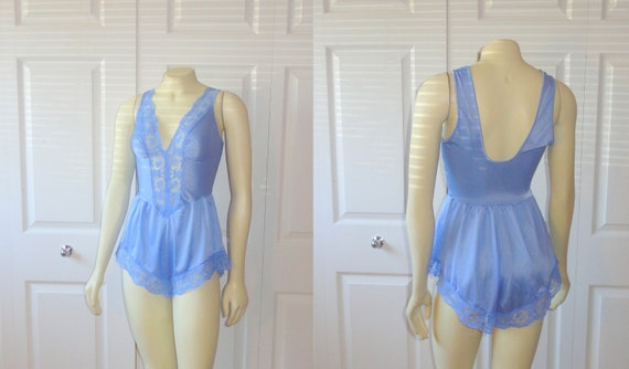 RESERVED Vintage Olga Teddy Lingerie 90077 Bodysilk Periwinkle Blue Romper Stretch Nylon & Lace size Medium