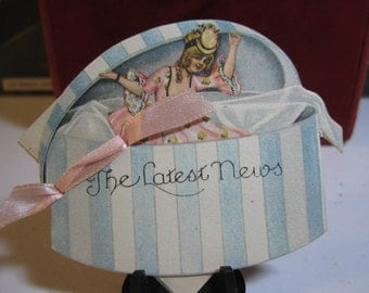 Adorable early 1920's die cut engagement announcement place cards edwardian lady inside of a hatbox pink silk ribbon