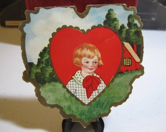 Die cut vintage 1930's  Whitney made valentine's day card embossed gold gilded little boy country cottage