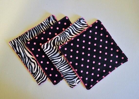 Zebra & Polka Dot Print / Baby Wash Cloths