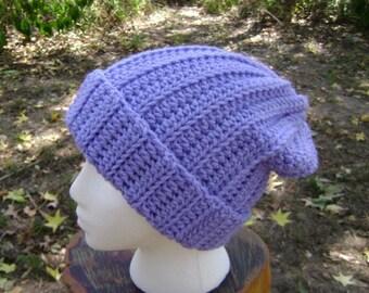 Crochet Hat Slouchy Beanie Skullcap Men Women Teen Orchid