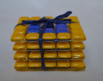 Blue and Gold Coaster Set