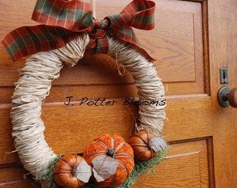 Fall Wreath Front Door, Front Door Decoration,Holiday Door Wreath, Autumn Wreath, Pumpkins, Pumpkin Thanksgiving Wreath