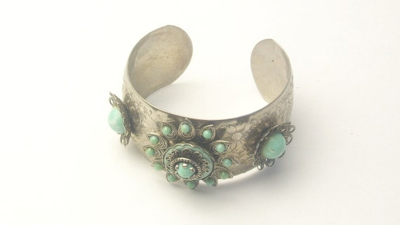 Vintage Silver Turquoise Blue Wide Tiered Cuff Bracelet on Etsy