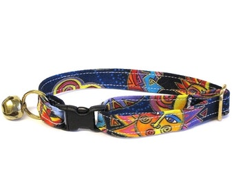 Brother Sun Sister Moon Adjustable Cat Collar (very rare Laurel Burch fabric)