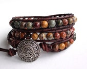 Leather Wrap Bracelet - Falling Leaves - Red Creek Jasper Triple Wrap Bracelet