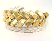 Braided Hex Nut Bracelet in White & Gold - Double Wrap