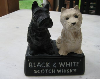 Vintage Black and White Scotch Whiskey Scotty Figures