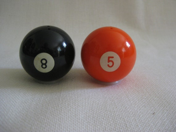 Vintage Billiard Ball Salt and Pepper Shakers