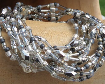 9 Strand Beaded Stretchy Bracelet - Light Gray & Silver