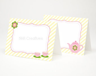 Tea Party Themed Place Cards - Teapot and Teacups  - DIY Printable Digital File