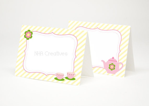 ... Themed Place Cards - Teapot and Teacups - DIY Printable Digital File