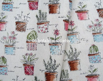 6323 - Cotton Linen Blend Fabric - Flowerpot and Flowers - by the yard