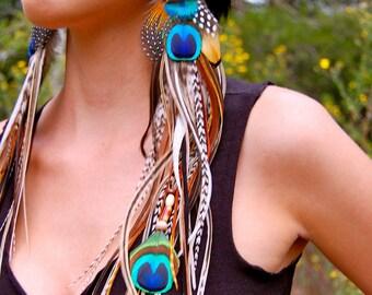 PEACOCK GODDESS Super Long Feather Earrings