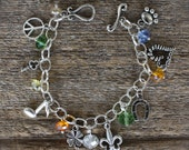 PERSONALIZED Charm Bracelet, (WITH Crystals), FREE Shipping by Okrrah