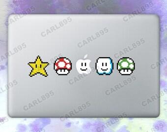 Super Mario Inspired - 8bit Power Ups Color Vinyl Sticker for Macbook Air/Pro