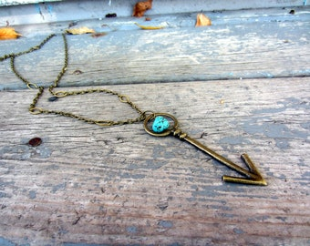 No. 44 Arrow Pendant Necklace with Turquoise Chunk