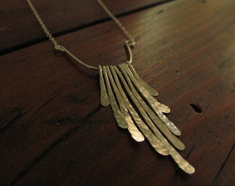 Hammered Silver Fringe Necklace - Modern Sterling Silver Jewelry