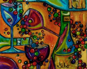 New Reproduction of my painting Boisterous, whimsical, wine themed, warm bright colors, size 12x12