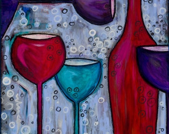 New reproduction of  my Wine themed painting, Celebrate, a vibrant, whimsical original painting for those who love wine, size 11x15