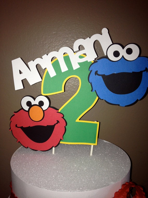 Sesame Street Elmo and Cookie monster cake topper Birthday