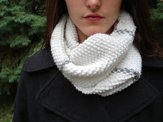 White Knit Infinity Scarf with Grey Stripes- Moss Stitch