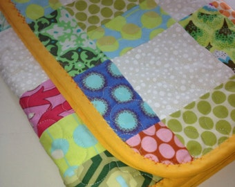 """Multi-colored Psychedelic Fun In This 26"""" X 30"""" Carseat/Stroller Quilt or Doll Quilt"""