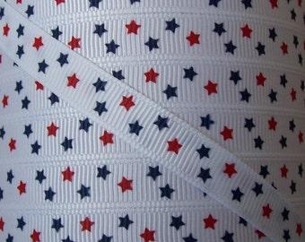 3/8 Grosgrain Ribbon - Printed Grosgrain Ribbon - 3 yards Red Blue Star July 4th - Ribbon By The Yard - Ribbon Supply - Little Stars Ribbon